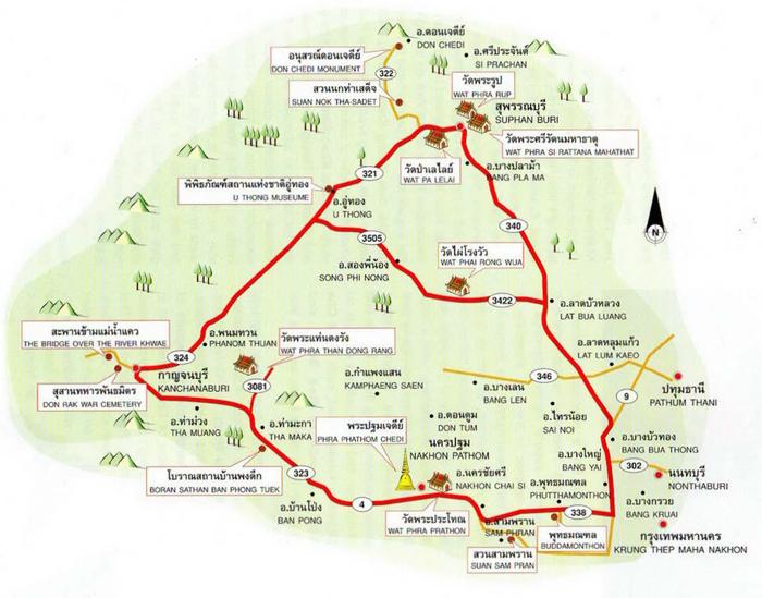 Kanchanaburi Map Thailand