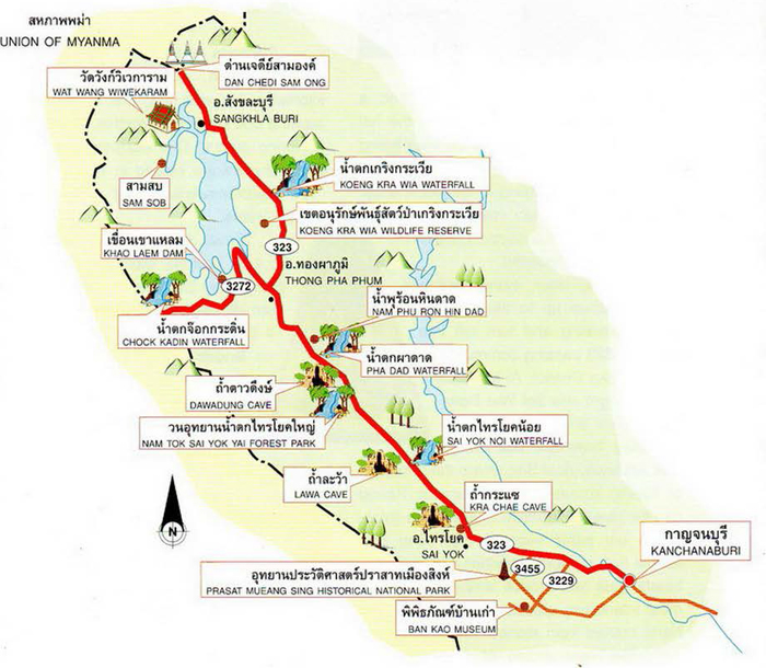 Kanchanaburi Thailand Map.Along The Western Border From Kanchanaburi To The Three Pagoda Pass