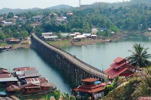 Wooden Mon Bridge Kanchanaburi Thailand