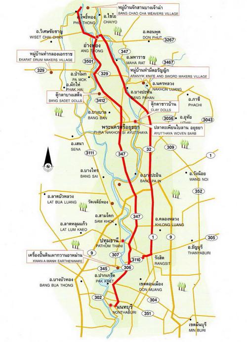 Ayutthaya Map Thailand