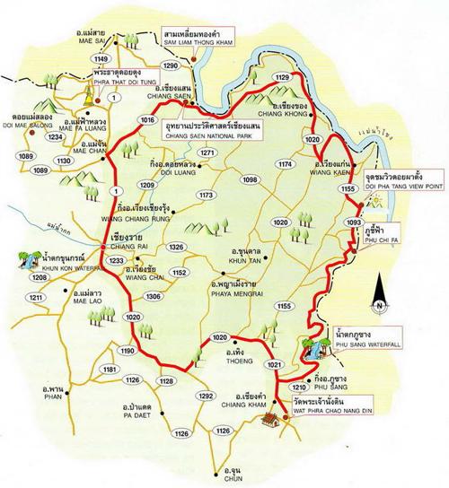 Chiang Rai Map Thailand