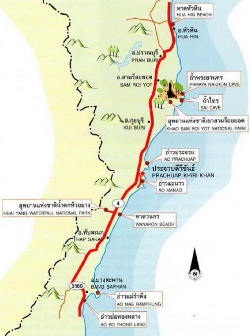 Hua Hin Prachuap Khiri Khan Map Thailand
