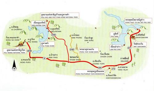 Khon Kaen-Kalasin Map Thailand
