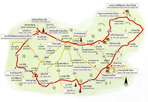 Maha Sarakham-Roi Et-Yasothon Map Thailand