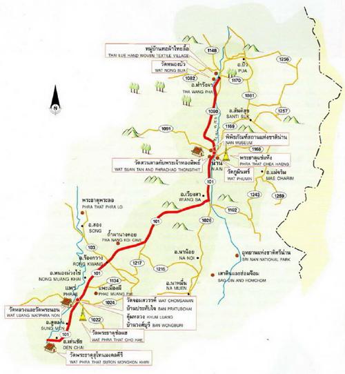 Phrae - Nan Map Thailand