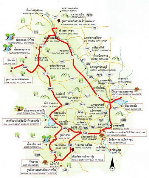 Nakhon Sawan - Kamphaeng Phet - Uthai Thani Map Thailand