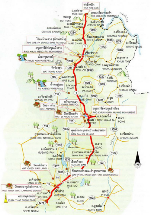 Lampang Thailand Map.The Magnificent Northern Lanna Route Lampang Phayao Chiang Rai