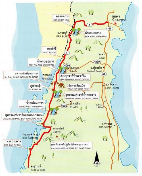 Ranong Map Thailand