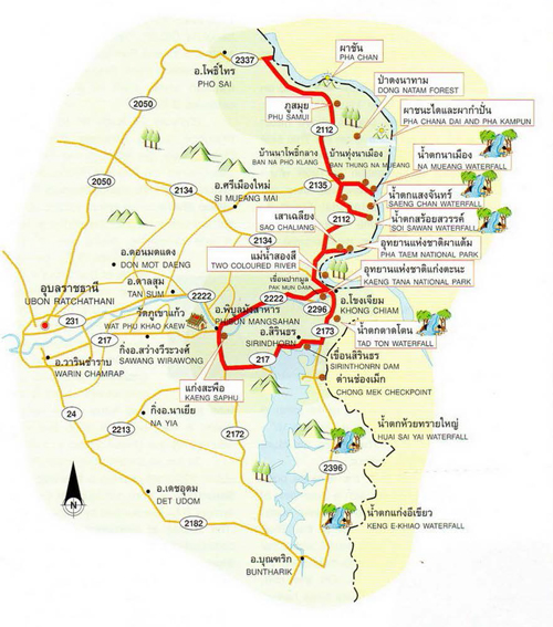 Ubon Ratchathani Map Thailand